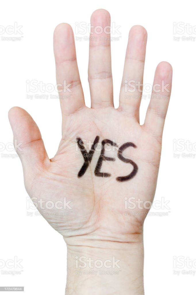 Yes written on palm of a hand. White background. royalty-free stock photo