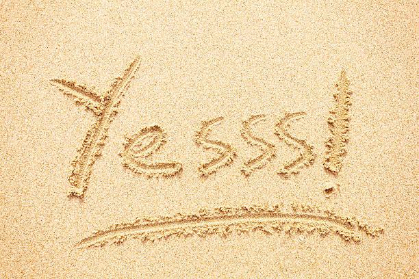 Yes Written on the Beach, Summer Holidays stock photo