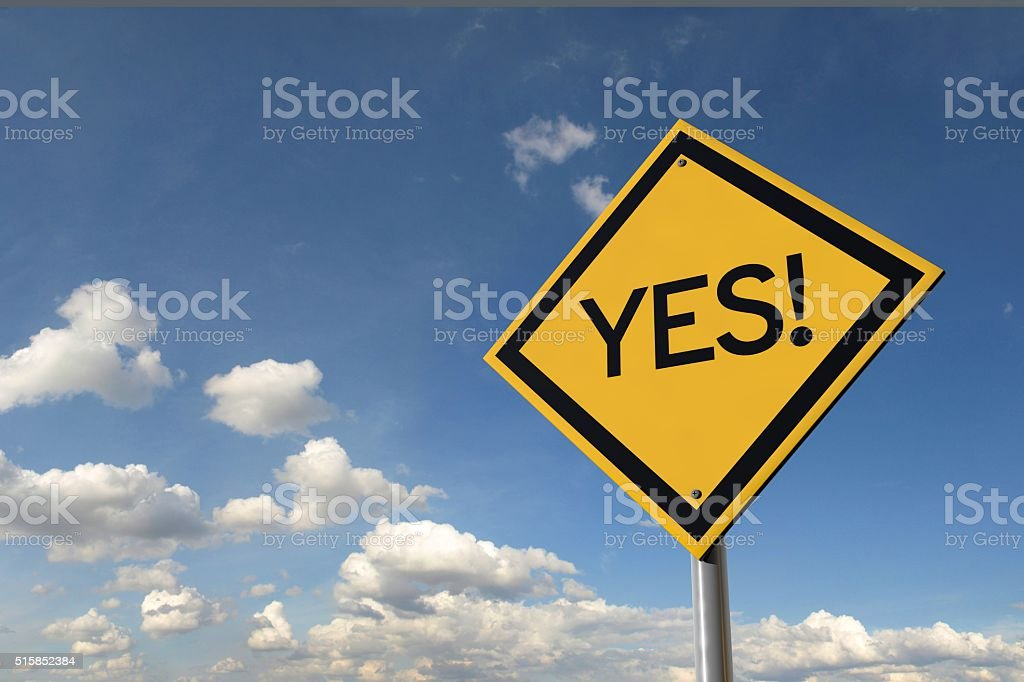 Yes yellow highway road sign stock photo