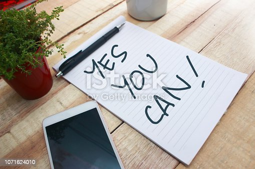 Yes You Can, business motivational inspirational quotes, words typography lettering concept