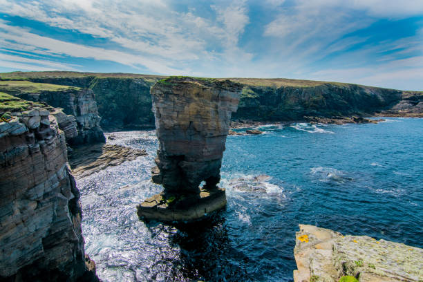 Yesnaby Cliffs Orkney Coast line of Orkney Scotland north coast 500 stock pictures, royalty-free photos & images