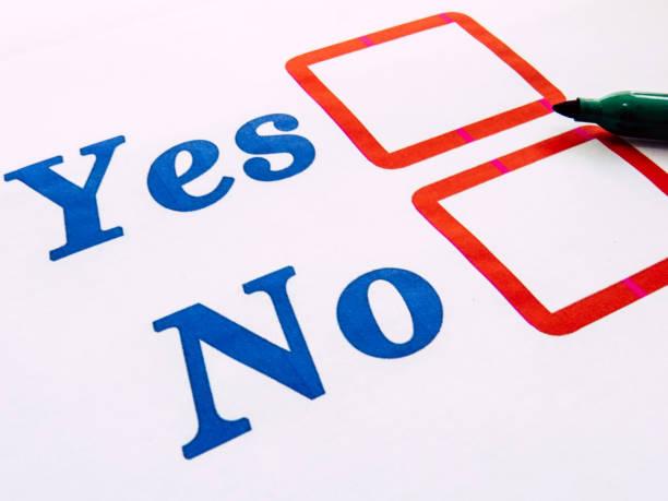 ja-keine auswahl kontrollkästchen leer - multiple intelligenz umfrage stock-fotos und bilder