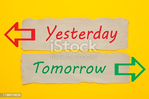 Yesterday And Tomorrow words written on old paper on yellow background. Choice concept