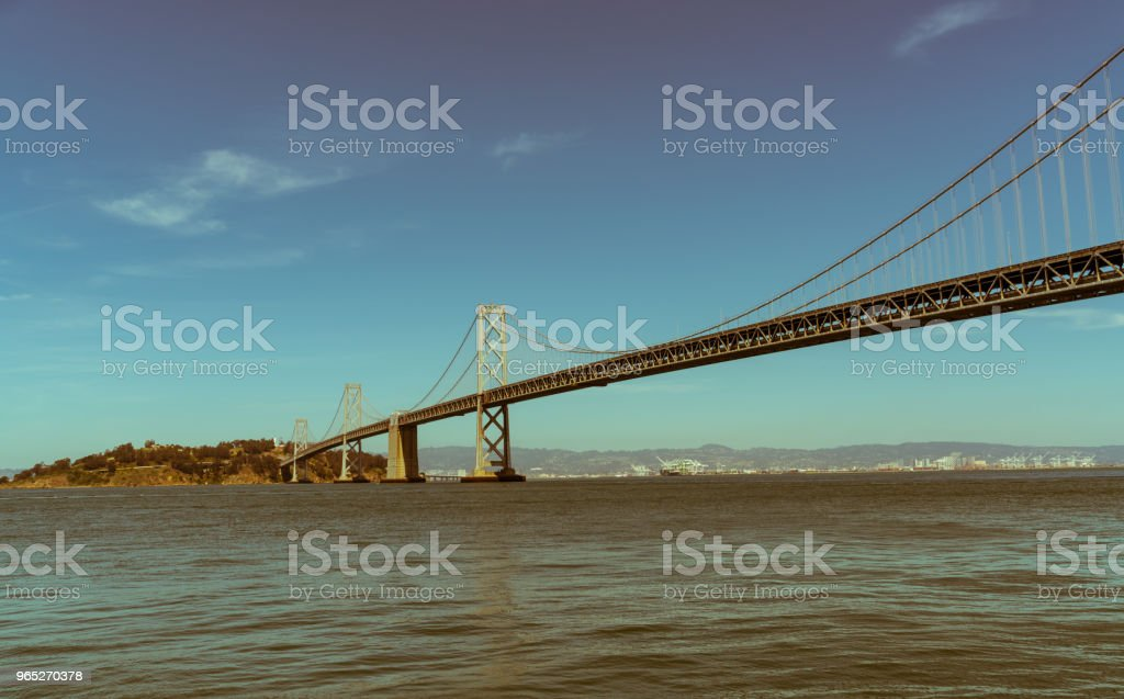 Yesteryears Oakland Bay Bridge to San Francisco , California Suspension bridge over the Bay Area royalty-free stock photo