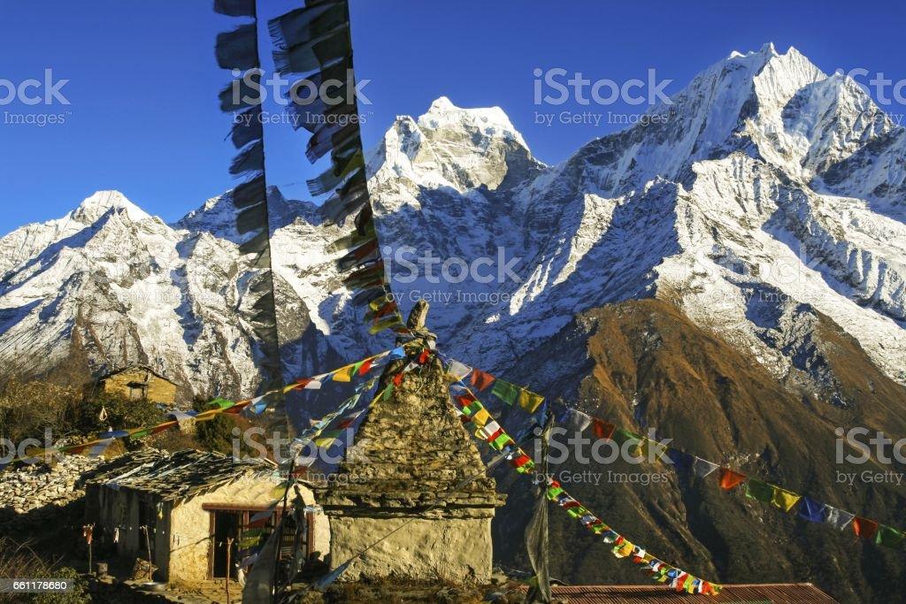 Yeti Lodge Nepal Himalaya Mountain Range Prayer Flags stock photo