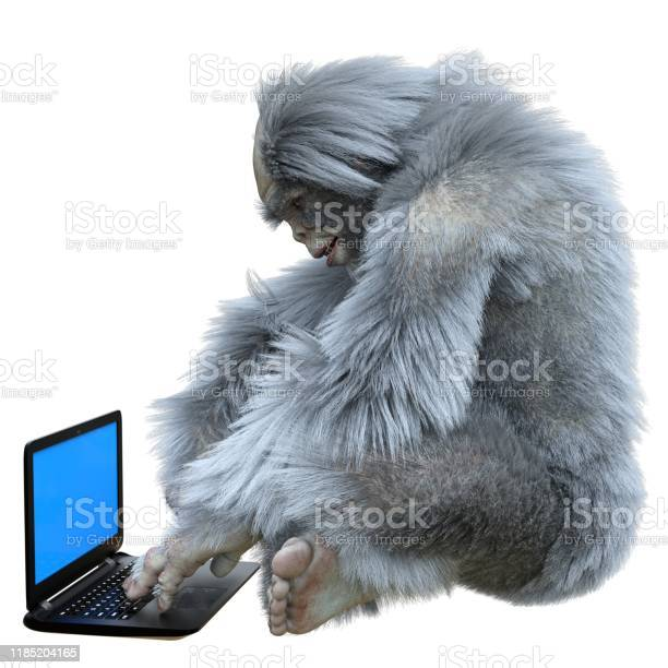 Yeti with laptop concept 3d illustration isolated on white background picture id1185204165?b=1&k=6&m=1185204165&s=612x612&h=9jtlqdty0m4r5l4mwq94 1ywbngc78w4edhxn nsabc=