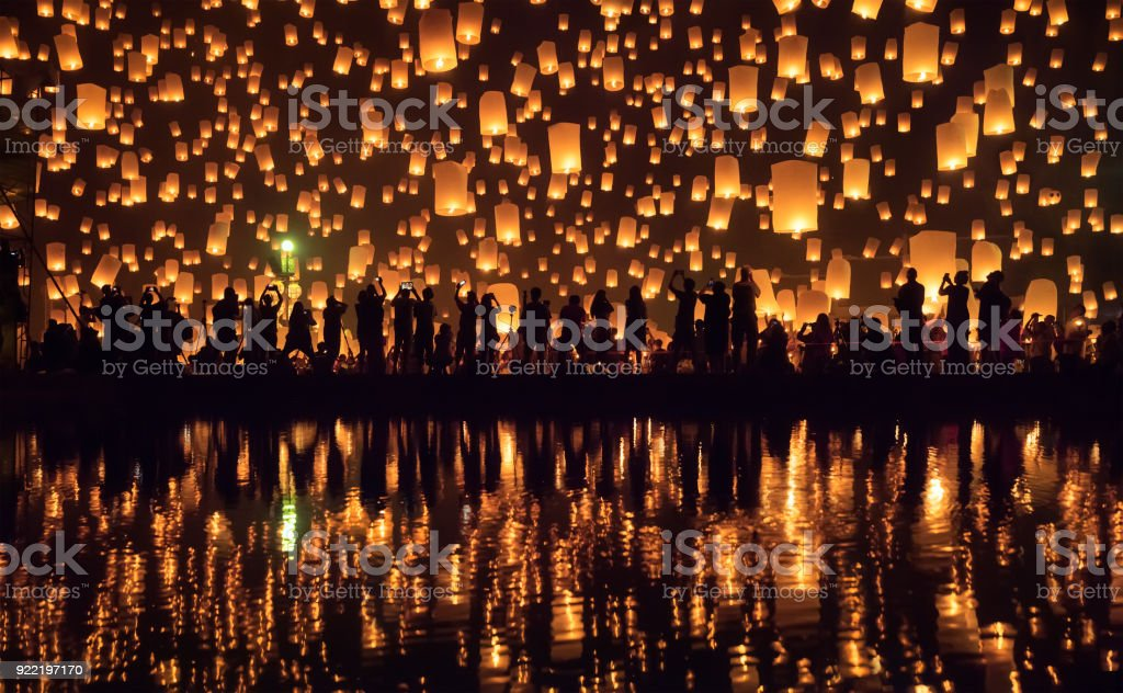 Yi Peng festival (lantern festival) Chiang Mai, Thailand stock photo