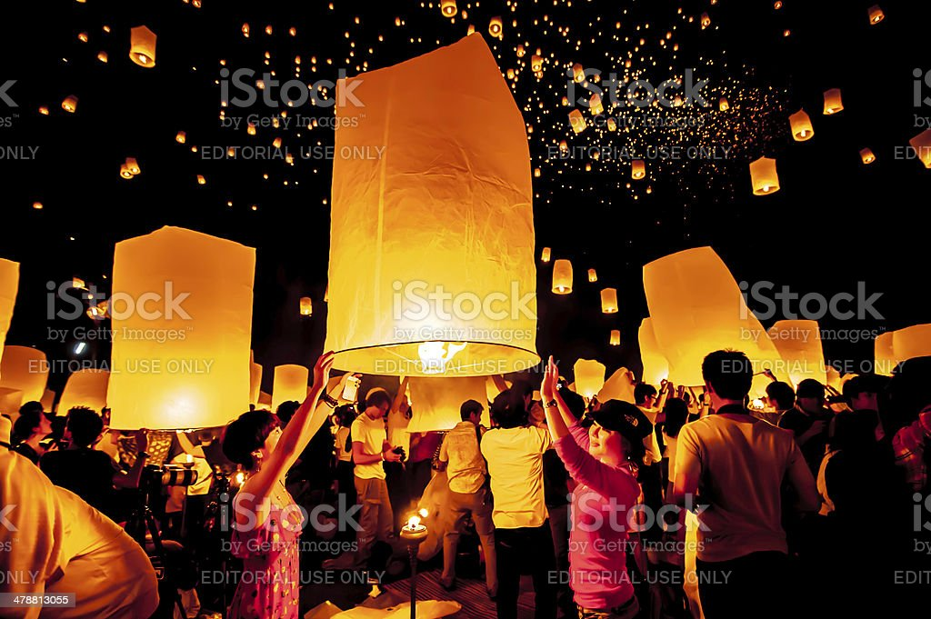 Yi Peng festival in Chiangmai,Thailand. stock photo