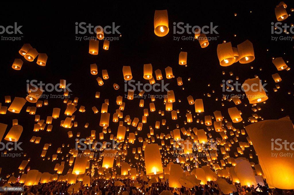 Yi Peng Firework Festival in Chiangmai Thailand stock photo