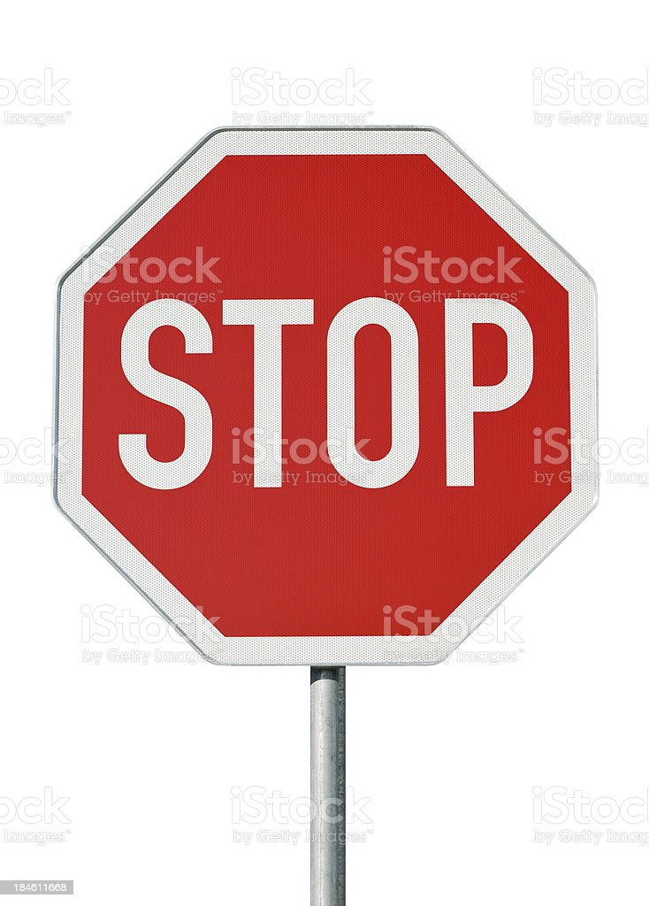 Yield sign. Isolated on white stock photo