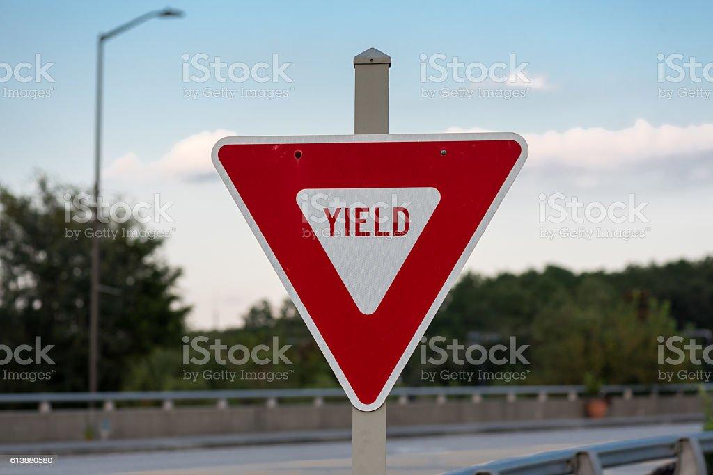 Yield Sign on Bridge stock photo