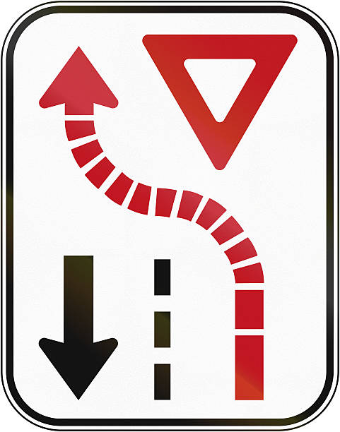 yield to oncoming traffic in canada - dotted line stock photos and pictures