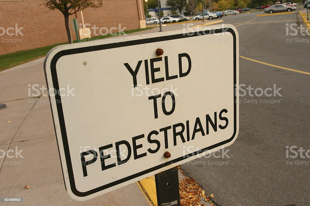 Yield to pedestrians royalty-free stock photo