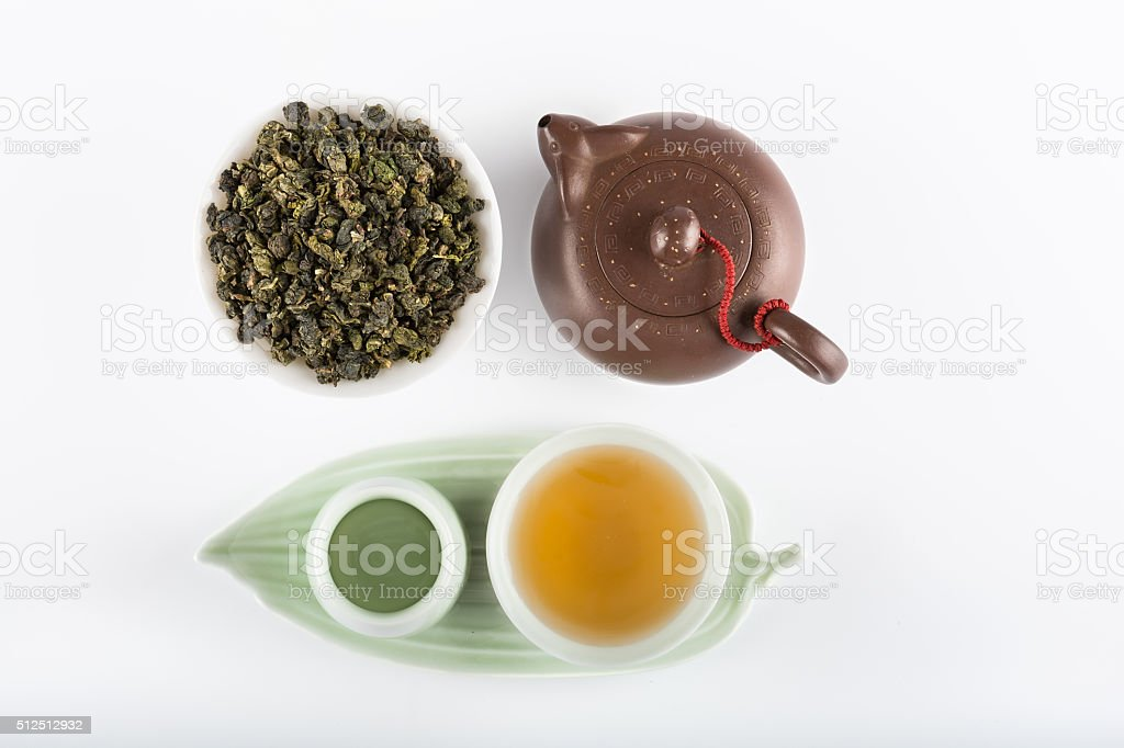 Yin and Yang tea set top view stock photo