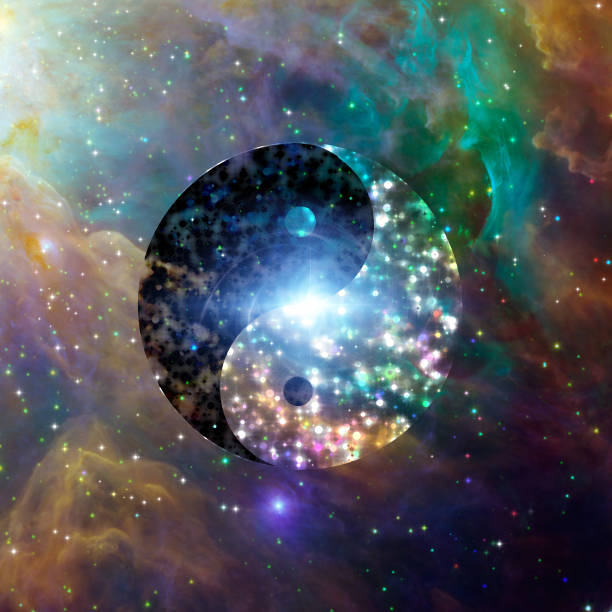 Yin Yang Celestial Yin Yang Vivid Colorful Celestial taoism stock pictures, royalty-free photos & images