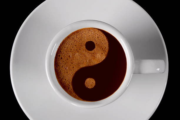 yin yang coffee - yin yang symbol stock photos and pictures