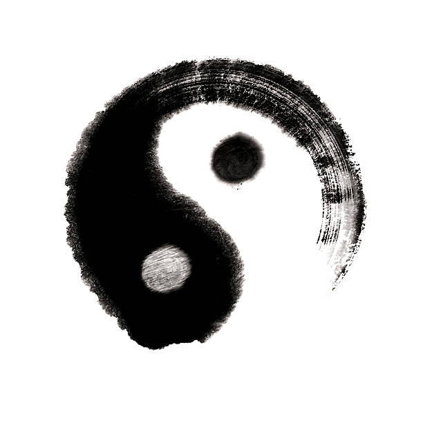 yin yang - great ultimate chinese medicine painting - yin yang symbol stock pictures, royalty-free photos & images