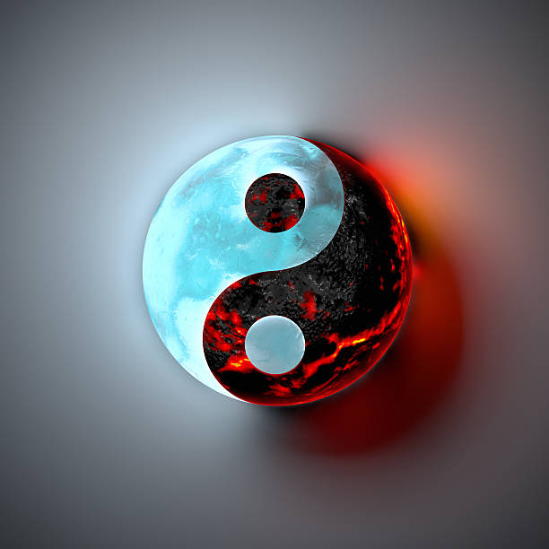 yin yang, ice and lava - yin yang symbol stock pictures, royalty-free photos & images
