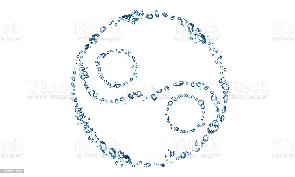 Yin Yang icon consist of water bubbles stock photo