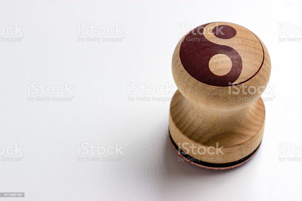 yin yang stamp stock photo
