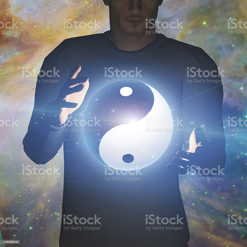 Yin Yang Star man stock photo