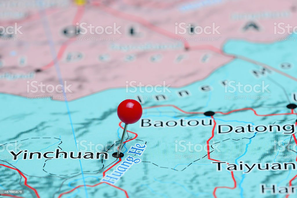Yinchuan pinned on a map of Asia stock photo