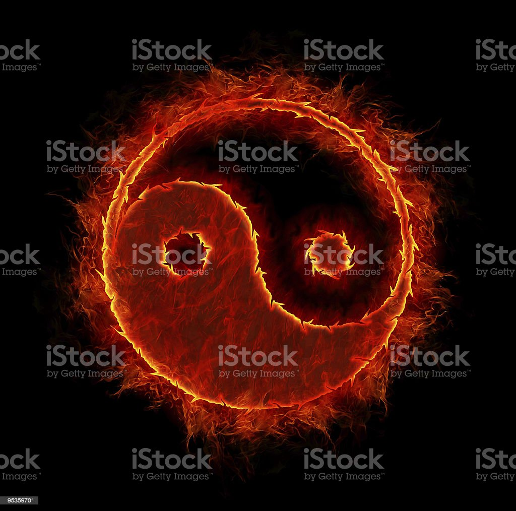 ying yang symbol isolated on black background royalty-free stock photo
