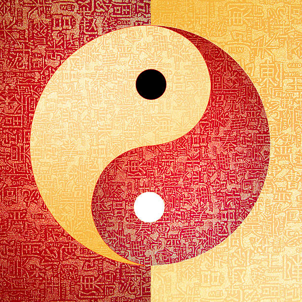 Ying-Yang symbol Ying-Yang symbol with chinese letter, The sign of the two elements. taoism stock pictures, royalty-free photos & images