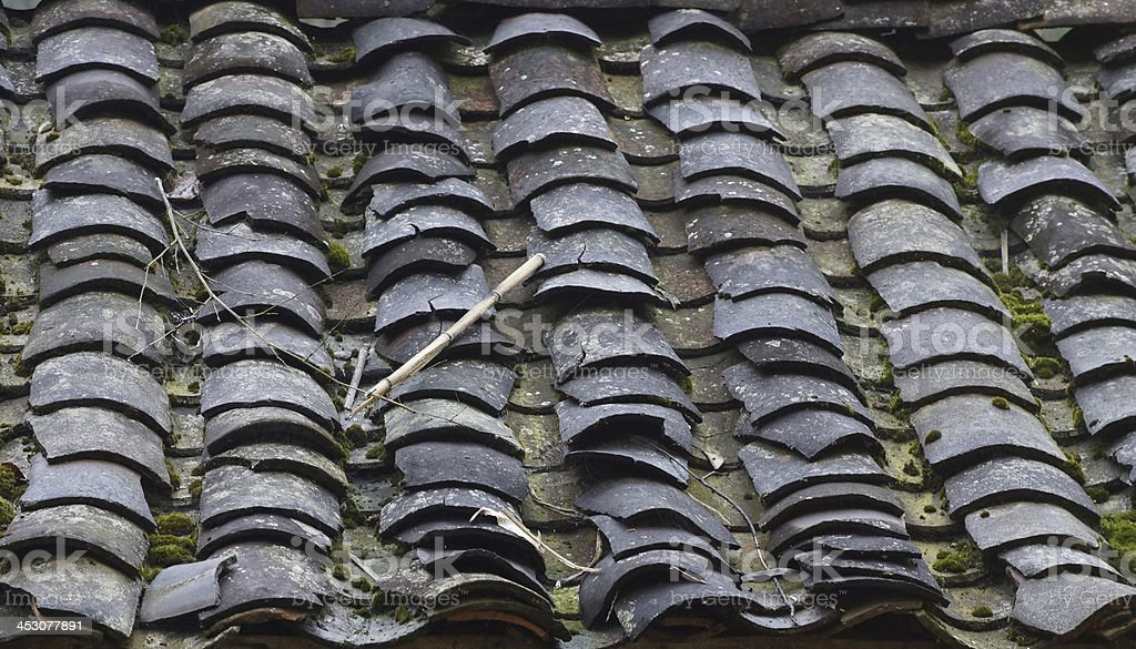 yin-yang clay roof tiles royalty-free stock photo