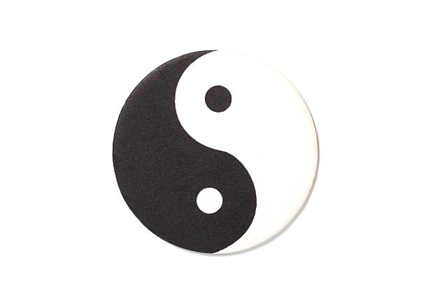 yin-yang symbol made of paper - yin yang symbol stock pictures, royalty-free photos & images