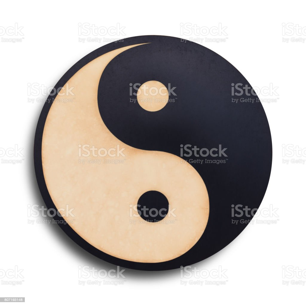Yin-Yang symbol made of paper on white background with clipping path