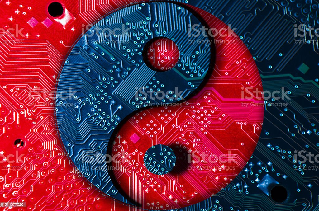 yin-yang technology stock photo