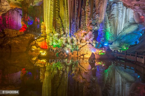 Yongshuo, Guanxi, China - December 19, 2015: The beautiful Yinziyan cave streches over 2km and goes through 12 mountains. Its insisde temperature is a constant 26 degrees Centigrade over the year at a 100% humidity.