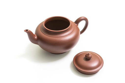 Yixing clay teapot with white background