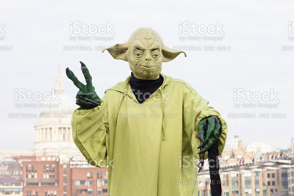 Yoda Street Performer on the South Bank, London stock photo