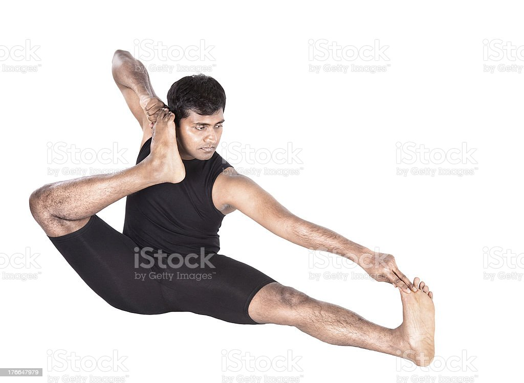 Yoga pose Aakarna dhanurasana Archer foto de stock libre de derechos