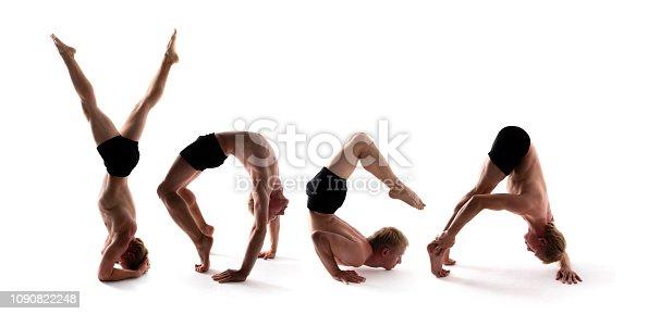 istock Yoga alphabet, athlete forming YOGA word over white background 1090822248