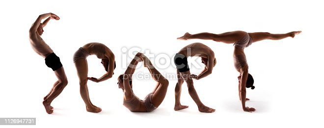 istock Yoga alphabet, athletes forming SPORT word over white background 1126947731
