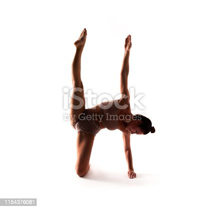 istock Yoga alphabet. The letter A formed by yogi body 1154376081