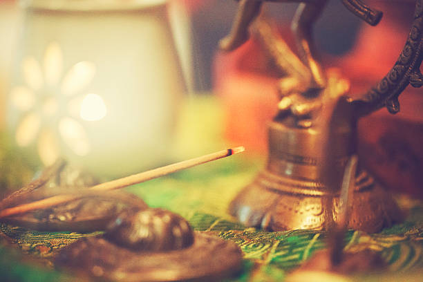 Yoga altar with light and cymbal Yoga altar cymbal stock pictures, royalty-free photos & images