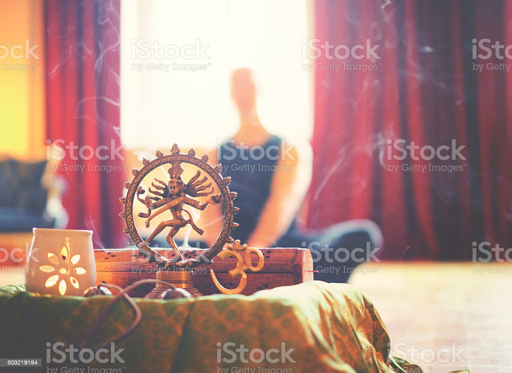 Yoga altar with light and meditation stock photo