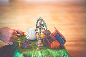 Yoga altar with light and Shiva sculpture