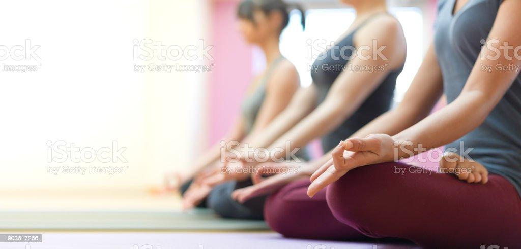 Yoga and mindfulness meditation stock photo