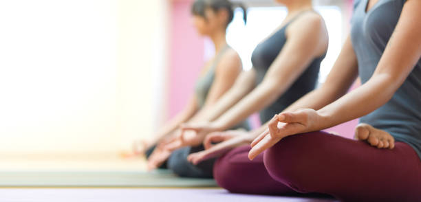 Yoga and mindfulness meditation stock photo