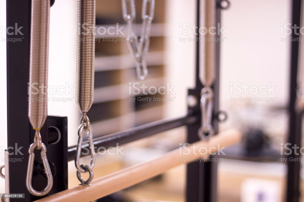 Yoga and pilates studio gym with training equipment for exercise, rehabilitation, physical therapy and workout. stock photo