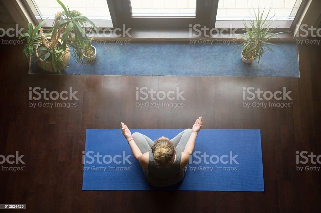 Yoga at home: meditation concept stock photo