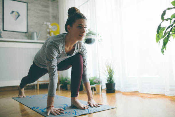 yoga at home - yoga stock photos and pictures