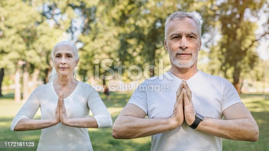 942580016istockphoto Yoga at park. Senior family couple exercising outdoors. 1172161123