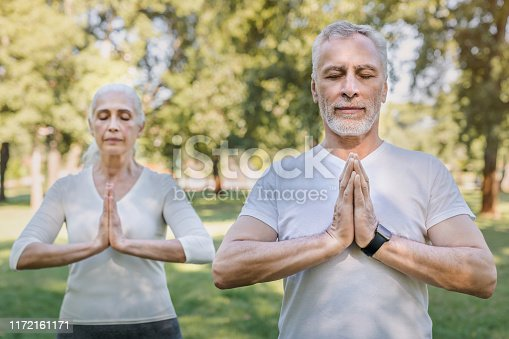 942580016istockphoto Yoga at park. Senior family couple exercising outdoors. 1172161171