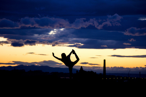 Yoga At Sunset Stock Photo - Download Image Now